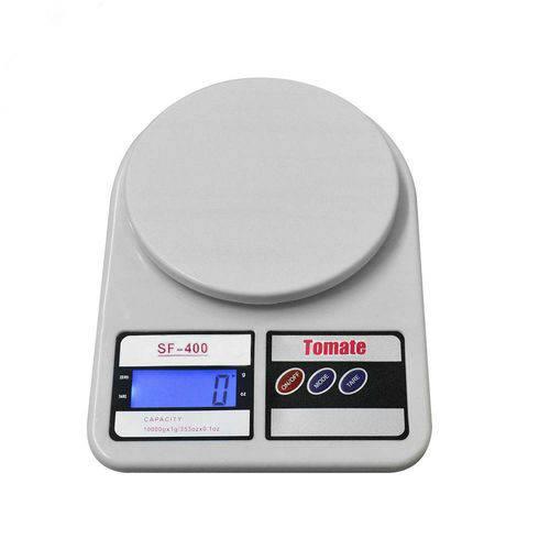 Balança Digital Eletrônica de Precisão Sf-400 Até 10kg Cozinha Marca Tomate Cor Branca