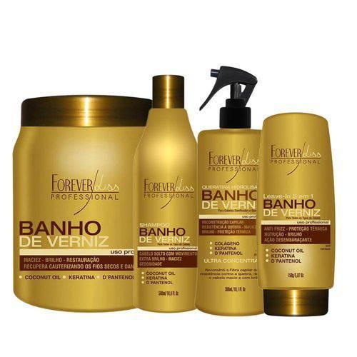 Kit Banho de Verniz Máscara 1kg, Shampoo, Queratina e Leave In Hidratação Profunda Forever Liss