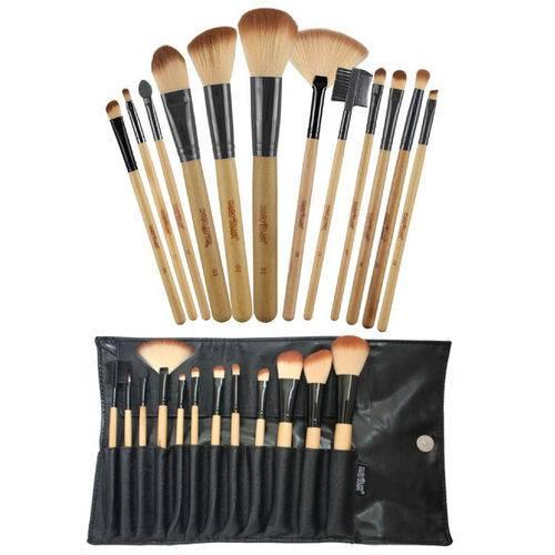 Kit com 12 Pincéis Macrilan Profissional para Maquiagem + Necessaire Kp1-2g