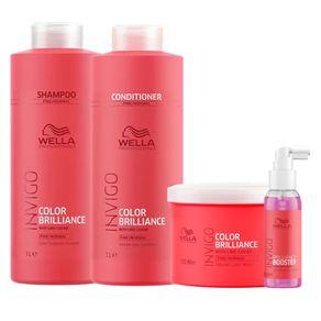 Kit Invigo Color Brilliance Tamanho Profissional Wella - Shampoo + Condicionador + Máscara + Booster Kit