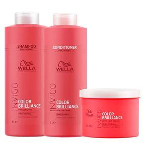 Kit Invigo Color Brilliance Tamanho Profissional Wella - Shampoo + Condicionador + Máscara Kit