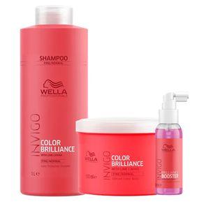 Kit Invigo Color Brilliance Tamanho Profissional Wella - Shampoo + Máscara + Booster Kit