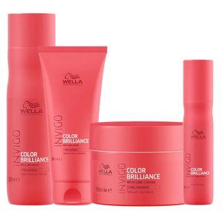 Kit Invigo Color Brilliance Wella - Shampooo + Condicionador + Máscara + Leave-in Kit