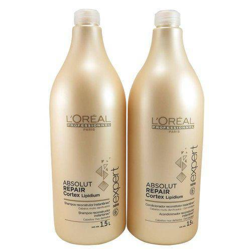 Kit Loreal Absolut Repair Cortex Lipidium Shampoo 1,5 L + Condicionador 1,5 L + 2 Válvulas