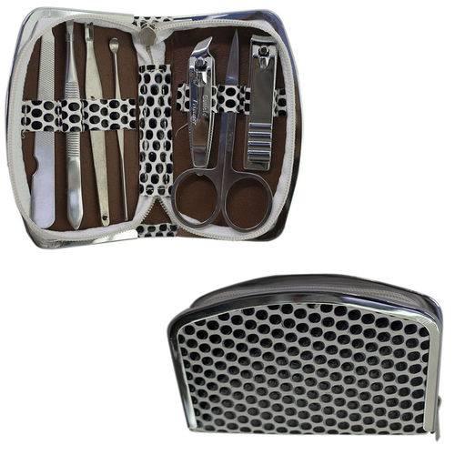Kit Manicure Pedicure Completo C/ Estojo 7 Peças de Inox