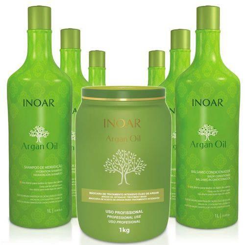 Kit Salão 3 Shampoo + 3 Condic + Máscara Argan Oil Inoar 1kg