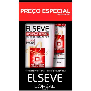Kit Shampoo + Condicionador Reparação Total Elseve 375+170ml