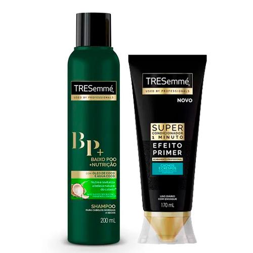 Kit Tresemmé Shampoo Baixo Poo + Nutrição 200ml + Super Condicionador Cachos e Crespos Efeito Primer 170ml
