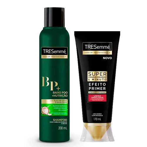 Kit Tresemmé Shampoo Baixo Poo + Nutrição 200ml + Super Condicionador Lisos e Ondulados Efeito Primer 170ml