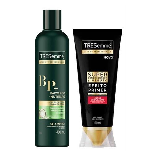 Kit Tresemmé Shampoo Baixo Poo Nutrição 400ml + Super Condicionador Cachos e Crespos 170ml