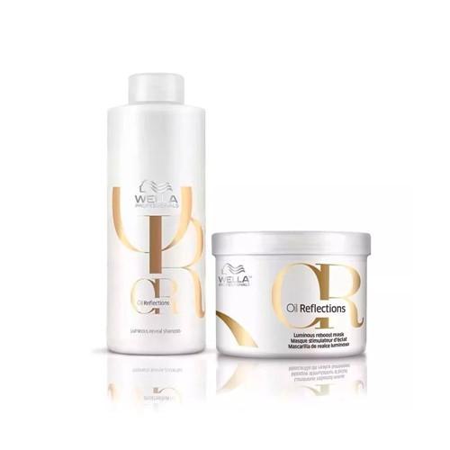 Kit Wella Shampoo 1000ml + Máscara Oil Reflection 500ml
