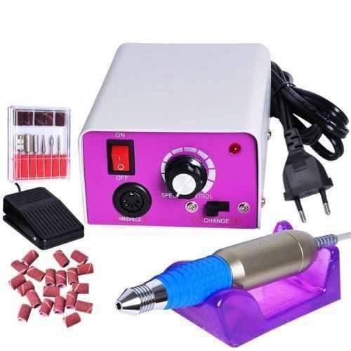 Lixa Elétrica Bivolt 110v/220v com Pedal para Unhas de Porcelana, Gel ou Acrygel