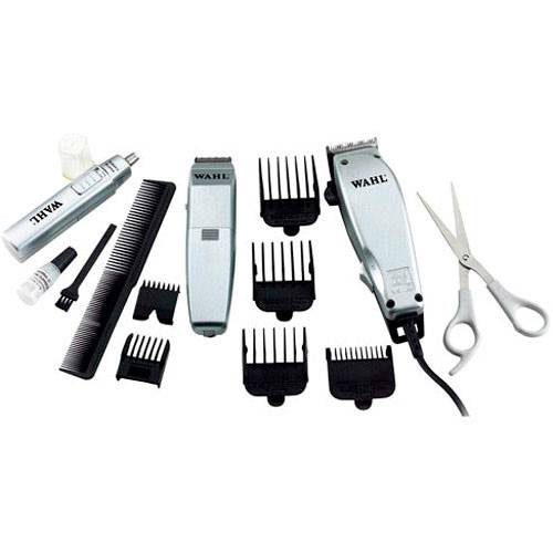 Máquina de Cortar Cabelo + Aparador de Pêlos + Aparador de Nariz e Orelha + Acessórios Home Grooming Kit - Wahl Clipper
