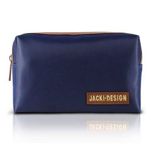 Necessaire de Bolsa Masculina Azul/Marrom Microfibra Jacki Design