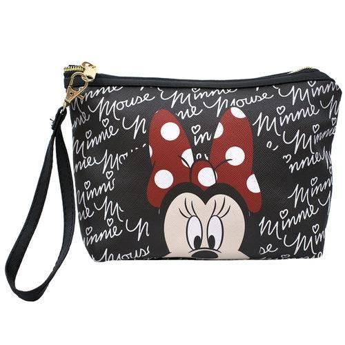 Necessaire Preto Assinatura Rosto Minnie - Disney
