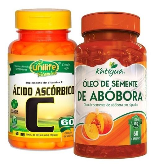 Óleo de Semente de Abóbora e Vitamina C Ácido Ascórbico 2X60 (Natural)