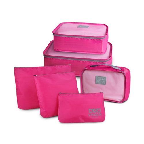 Organizador de Mala 6 Peças para Viagem Necessaire Pink