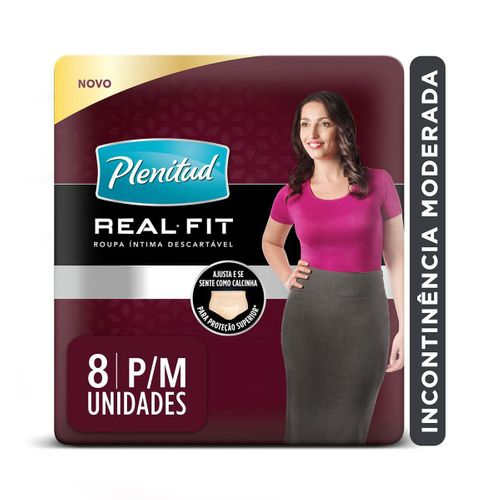 Roupa Intima Plenitud Real Fit Mulher P/M 8 Unidades