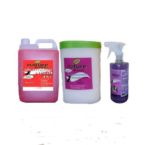 Shampoo Antipulgas 5L +Colônia 500ml +Condicionador 1kg para Cães e Gatos (Kit Nature Dog)