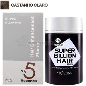 Super Billion Hair Fibra Queratina em Pó para Disfarçar a Calvice - Castanho Claro 25g