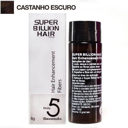 Super Billion Hair Fibra Queratina em Pó para Disfarçar a Calvice - Castanho Escuro 8g