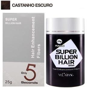 Super Billion Hair Fibra Queratina em Pó para Disfarçar a Calvice - Castanho Escuro