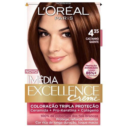 Tintura Creme Imédia Excellence L'oréal Castanho Quente 4.35 Kit
