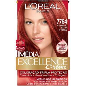 Tintura Permanente L Oréal Imédia Creme Kit Vermelho Magnífico 7764 Vermelho Extra Intenso