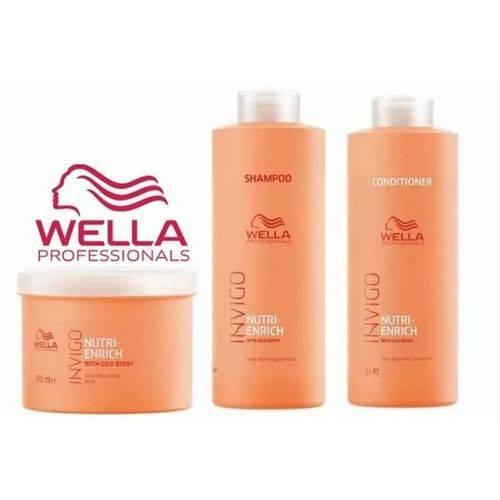 Wella Invigo Nutri Enrich Shampoo + Cond 1000ml + Máscara 500g