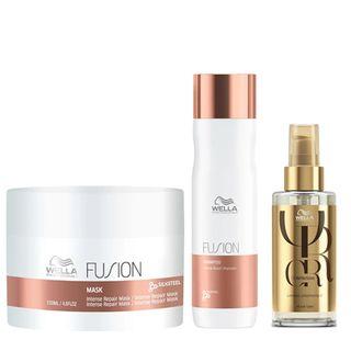 Wella Professionals Fusion + Oil Reflections Kit - Máscara + Shampoo + Óleo Kit