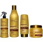 Forever Liss - Kit (Shampoo 500ml + Queratina 300 + Leave In 150ml + Banho de Verniz 250g)